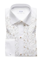 Eton Smoking Shirt Beige Wit Print Slim fit