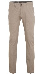 Four.ten Industry Katoenen Broek Beige Print Slim fit