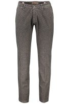 Four.ten Industry Katoenen Broek Bruin Grijs Geruit Slim fit