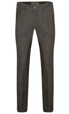Four.ten Industry Katoenen Broek Grijs Effen Gemêleerd Slim fit