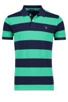 Gant Polo Shirt Donkerblauw Groen Gestreept Normale fit