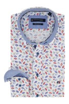 Giordano overhemd blauw rode print Regular Fit
