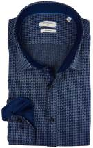 Giordano Overhemd Donkerblauw Blauw Print Normale fit