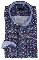 Giordano Overhemd Rood Donkerblauw Bordeaux Print Wijde fit