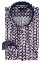 Giordano Overhemd Rood Donkerblauw Print Wijde fit