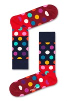 Happy Socks Big Dot Block Sock rood navy