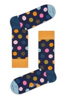Happy Socks Big Dot donkerblauw oranje