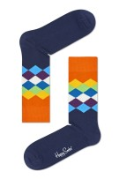 Happy Socks Herensokken Donkerblauw Oranje Print