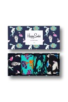 Happy Socks Herensokken Donkerblauw Wit Turquoise Print