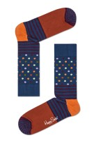 Happy Socks stripes & dot sokken petrol oranje