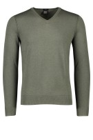 Hugo Boss trui Kwesvirow slim fit groen v-hals