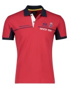La Martina Polo Shirt Rood Donkerblauw Effen Slim fit