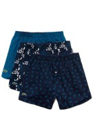 Lacoste 3-pack boxershorts print blauw navy