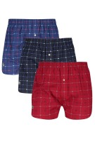 Lacoste Boxershort Rood Donkerblauw Blauw Geruit Print Normale fit