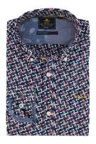 New Zealand Overhemd Roze Blauw Print Normale fit