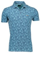 New Zealand Polo Shirt Blauw Turquoise Print Normale fit