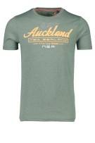 New Zealand T-shirt Groen Effen Print Gemêleerd Normale fit