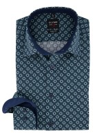 Olymp Level 5 overhemd Body Fit print navy groen
