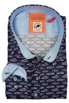 Overhemd A Fish Named Fred navy print modern fit