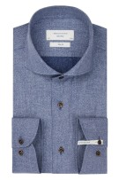 Overhemd mouwlengte 7 Profuomo blauw Slim Fit