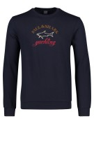 Paul & Shark crew neck sweater opdruk donkerblauw