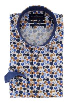 Portofino Mouwlengte 7 Overhemd Donkerblauw Wit Blauw Print Normale fit