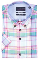 Portofino shirt regular fit korte mouw groen roze