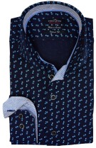 Portofino tailored fit hemd navy blauw motief