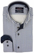 Portofino tailored fit overhemd blauw print
