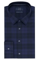 Profuomo 2.0 shirt navy zwart ruit super slim fit