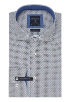 Profuomo Mouwlengte 7 Overhemd Blauw Print Slim fit