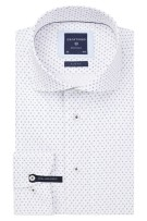 Profuomo Mouwlengte 7 Overhemd Wit Blauw Print Slim fit