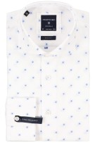 Profuomo Mouwlengte 7 Overhemd Wit Print Slim fit
