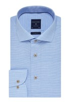 Profuomo overhemd Slim Fit blauw wide spread boord