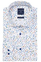 Profuomo Overhemd Wit Blauw Print Slim fit