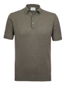 Profuomo Polo Shirt Bruin Effen Gemêleerd Normale fit