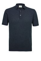 Profuomo Polo Shirt Donkerblauw Effen Gemêleerd Normale fit