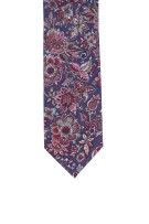 Profuomo Stropdas Rood Donkerblauw Bordeaux Print