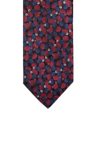 Profuomo Stropdas Rood Donkerblauw Print