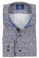 R2 Mouwlengte 7 Overhemd Blauw Print Slim fit