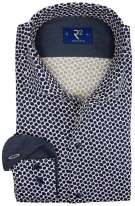 R2 Mouwlengte 7 Overhemd Donkerblauw Print Slim fit