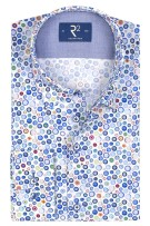R2 Mouwlengte 7 Overhemd Wit Blauw Print Normale fit
