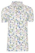 R2 Polo Shirt Groen Wit Blauw Print Slim fit