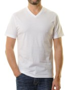 Ragman t-shirt wit v-hals  two-pack 100% katoen