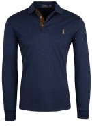 Ralph Lauren polo blauw custom slim fit lange mouw