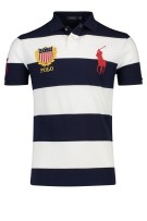 Ralph lauren polo katoen slim fit banen wit navy