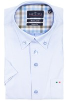 Regular fit shirt Portofino korte mouw lichtblauw