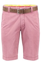 Rode korte broek chino Meyer stretch met riem