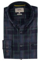 Shirt Camel Active navy groene ruit Regular Fit