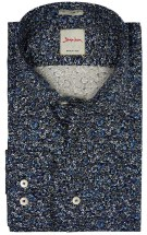 Signum 7 Shirt Extra Mouwlengte Donkerblauw Print Slim fit